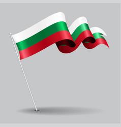 Bulgarian pin wavy flag vector