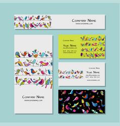business cards design funny birds background vector image