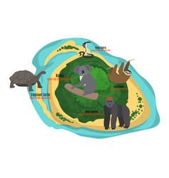 cartoon tropical island in ocean with exotic vector image