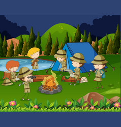 children camping out in the woods vector image