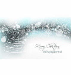 christmas and new year banner with christmas tree vector image vector image