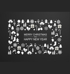 christmas background with frame white winter vector image