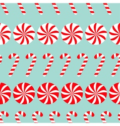 Christmas Round white and red sweet set Candy Cane vector image