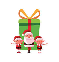 christmas santa claus elves and gift vector image