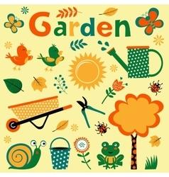 Colorful garden elements cute composition vector image