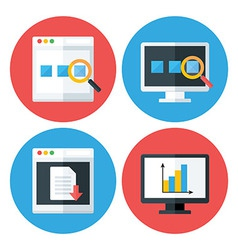 Computer Browser Technology Flat Circle Icons Set vector