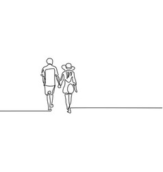 Continuous line couple in love walk holding hands vector
