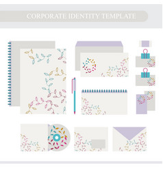 corporate identity design template with floral vector image