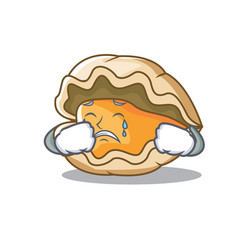 Crying oyster mascot cartoon style vector