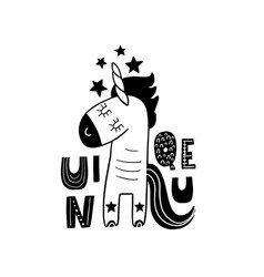 Cute hand drawn unicorn in black and white style vector