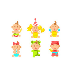 cute little bacharacter set adorable inant boy vector image