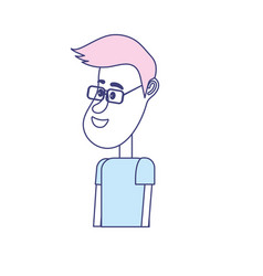 Cute man with hairstyle design and clothes vector