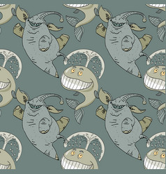 dancing happy elephant and whale seamless pattern vector image
