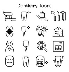 dentistry icon set in thin line style vector image