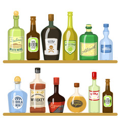 different alcoholic drinks in bottles alcohol vector image