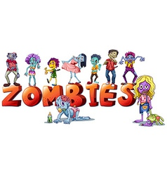 Different faces of zombies vector