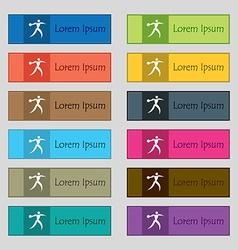 Discus thrower icon sign Set of twelve rectangular vector