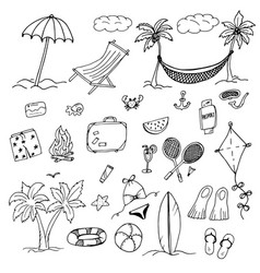 Drawings elements leisure and beach vector