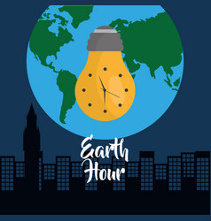 Earth hour bulb clock city globe world vector