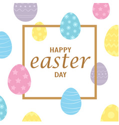 easter frame with colors eggs isolated on white vector image