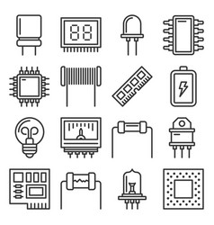 Electronic components icons set on white vector