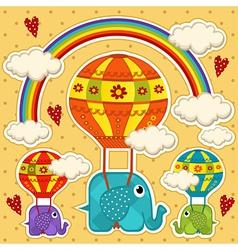 Elephant in a balloon bacard vector