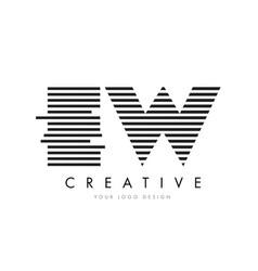 Ew e w zebra letter logo design with black and vector