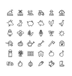 farm sign black thin line icon set vector image