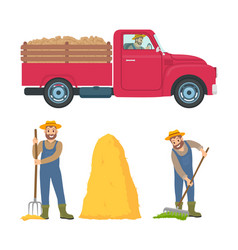 Farming man with rake set vector