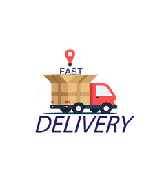 fast delivery red truck background image vector image