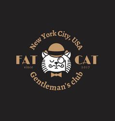 Fat cat logo vector