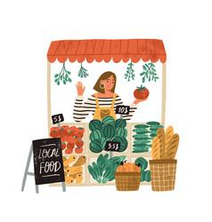 Female farmer selling fresh fruits and vegetables vector
