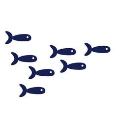 Fish shoal flat on white vector