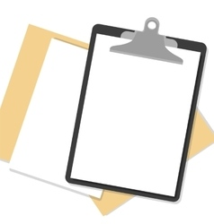 Flat clipboard with paper sheets on desk vector image