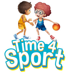 font design for word time for sport with two boys vector image