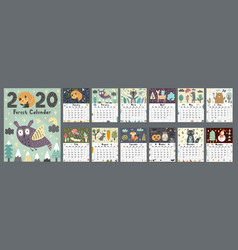 Forest calendar for 2020 year printable planner vector