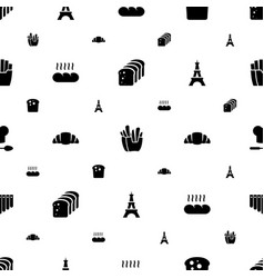 French icons pattern seamless white background vector