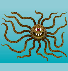 funny monster with long tentacles in water vector image