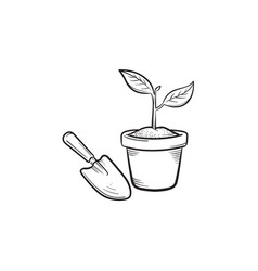 Garden trowel and pot hand drawn sketch icon vector