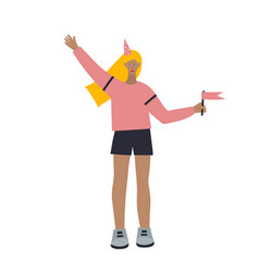 Girl character at party flat vector