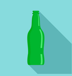 glass beer bottle icon flat style vector image
