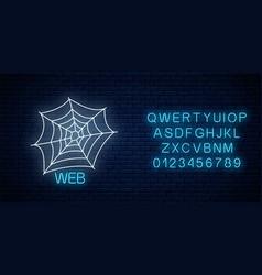Glowing neon sign spyder web banner design vector