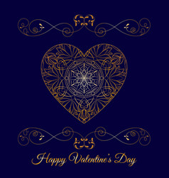 Gold fretwork floral heart over blue happy vector