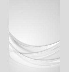Grey smooth waves abstract flyer background vector