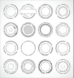 grunge round paper stickers black and white 2 vector image