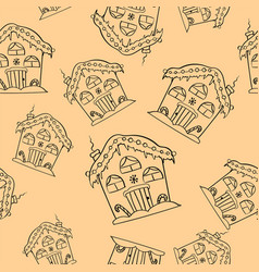 hand drawn christmas houses seamless pattern cute vector image
