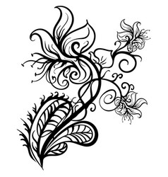 Hand drawn flowers lilies tattoo sketch vector