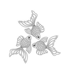 hand drawn goldfishes floating in a circle vector image