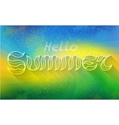 Hand drawn text HELLO SUMMER lettering vector image
