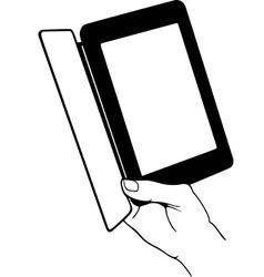 Hand holding e-book reader vector image